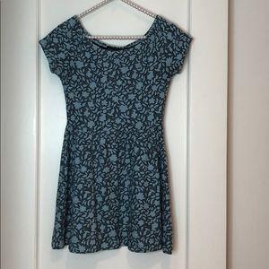 Topshop Petite Blue Flower Flowy Skater Dress